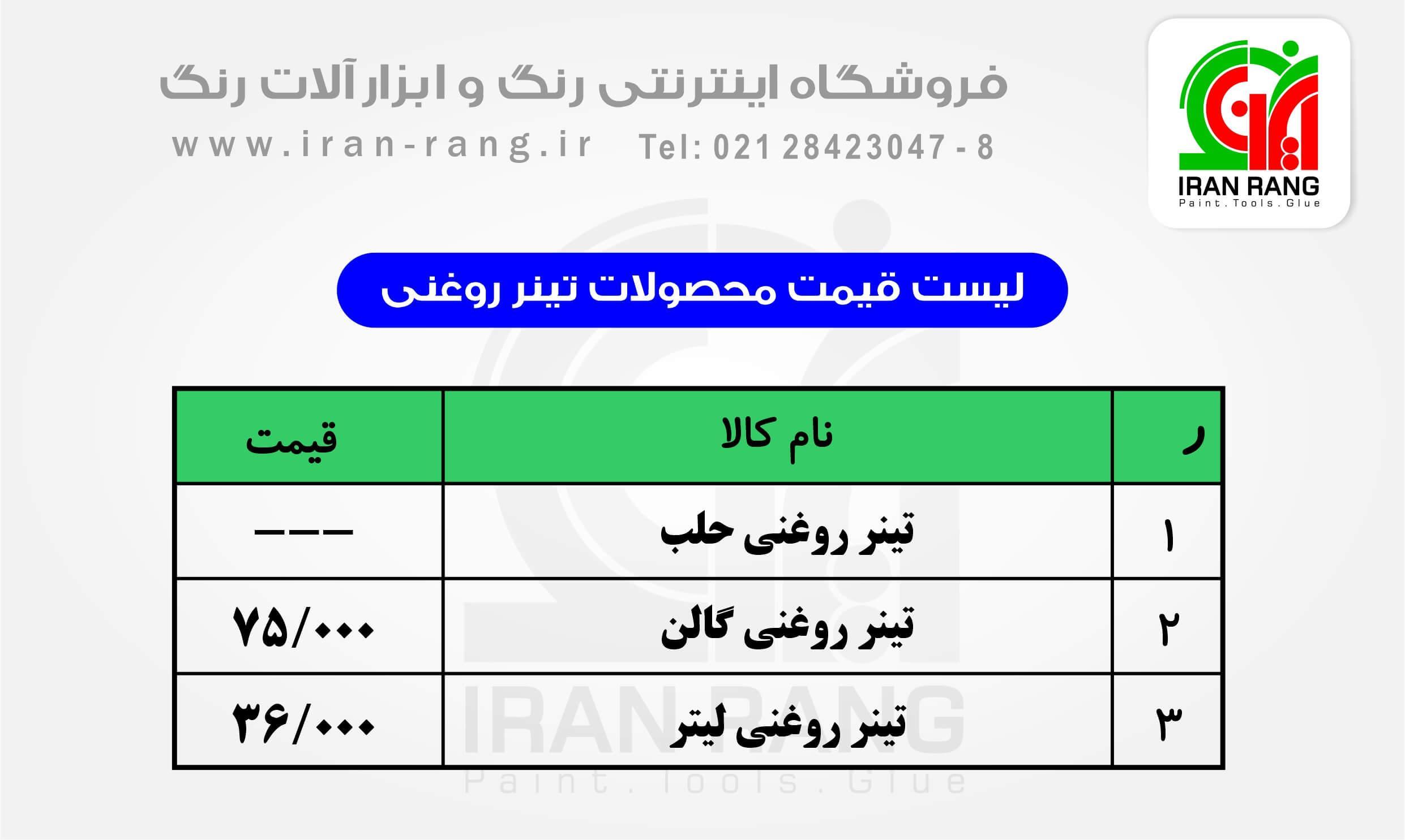 لیست قیمت تینر روغنی - خرید تینر روغنی - ایران رنگ