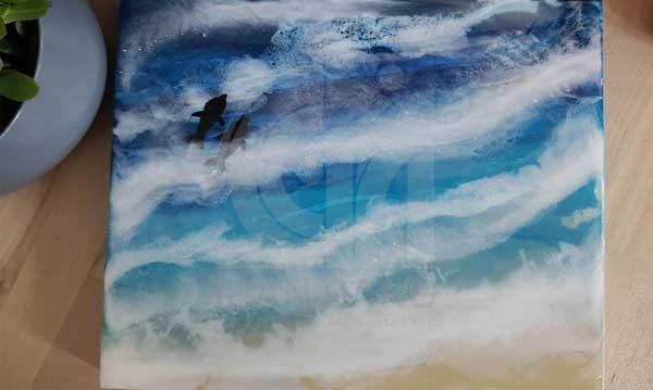 نقاشی آبستره با رزین اپوکسی